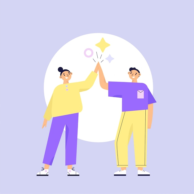 Concepto de trabajo en equipo. dos personajes mujer y hombre dando cinco. ilustración de vector plano Vector Premium