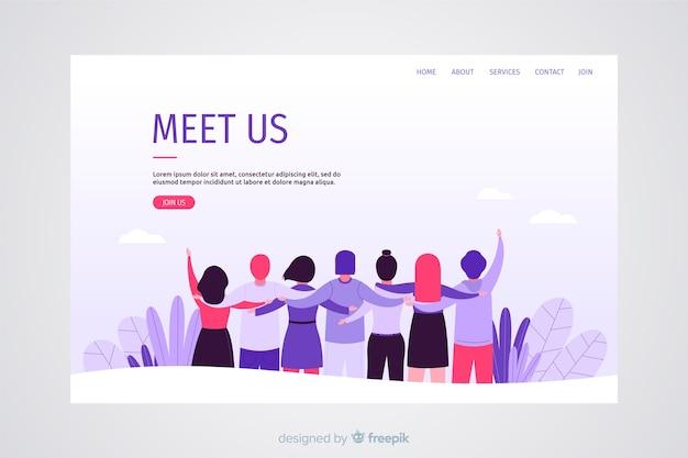 Concepto de trabajo en equipo para landing page vector gratuito