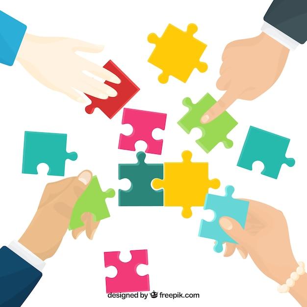 Concepto de trabajo en equipo con piezas de puzle vector gratuito