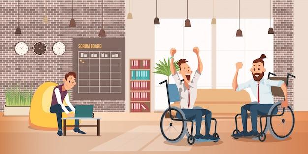 Concepto de trabajo exitoso de personas discapacitadas Vector Premium