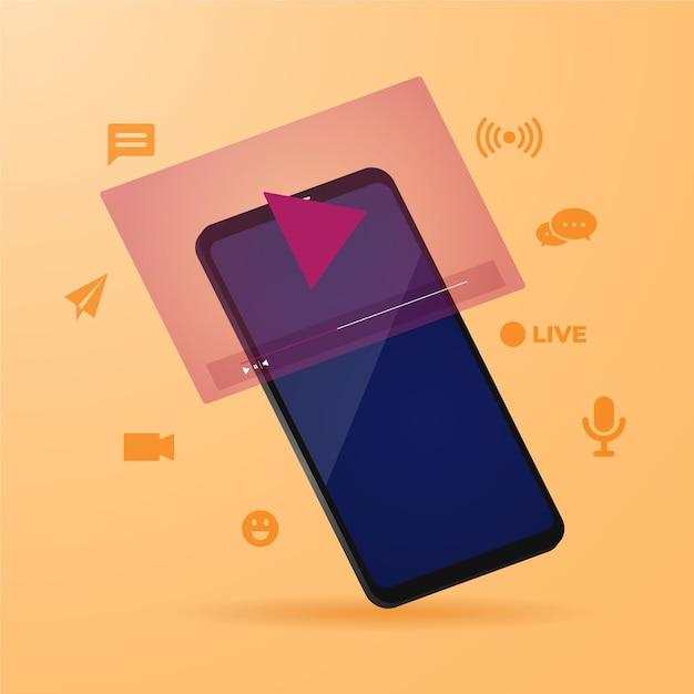Concepto de transmisión en vivo con ilustración de teléfono inteligente vector gratuito