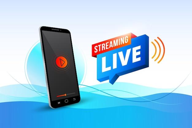 Concepto de transmisión en vivo con teléfono inteligente vector gratuito