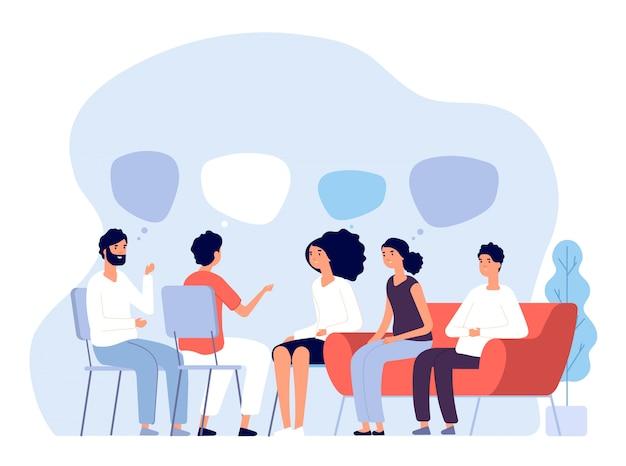 Concepto de tratamiento de adicciones. terapia de grupo, asesoramiento de personas con psicólogo, personas en sesiones de psicoterapeuta. imagen vectorial Vector Premium