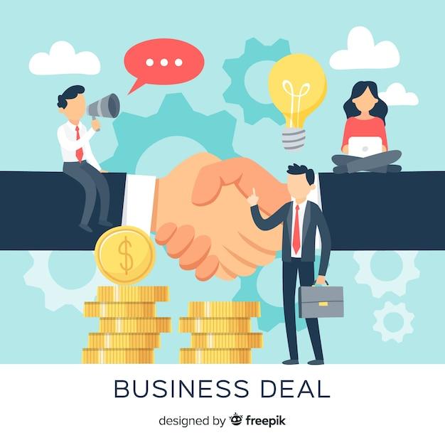 Concepto de trato de negocios dibujado a mano vector gratuito