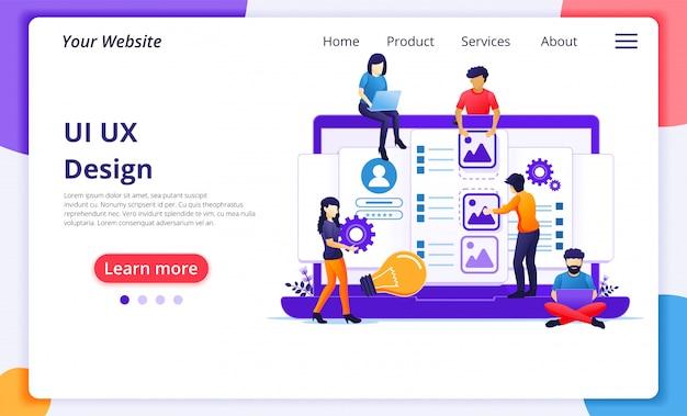 Concepto ui ux, personas que crean un contenido de aplicación y lugar de texto. plantilla de página de destino del sitio web Vector Premium