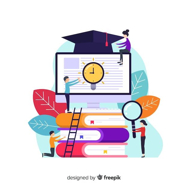 Concepto de universidad con elementos de educación en diseño plano vector gratuito