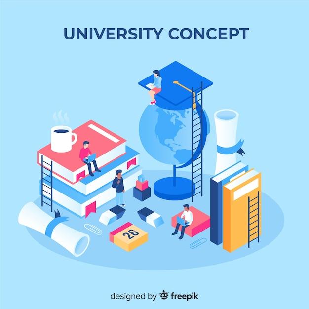 Concepto de universidad con elementos escolares en isométrico vector gratuito