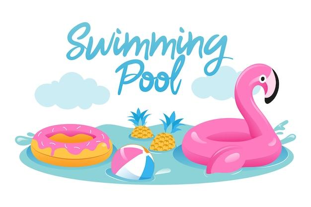 Concepto de vacaciones de verano. lindo flamenco rosado inflable con bola, anillo de goma en la piscina. juguetes para pasar tiempo activo y vacaciones de verano en la piscina. Vector Premium