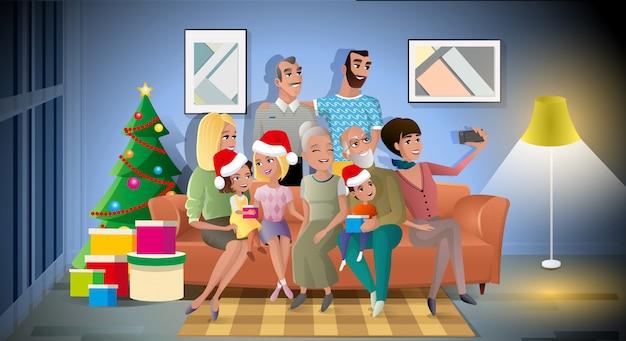 Concepto de vector de dibujos animados de gran familia fiesta de navidad Vector Premium