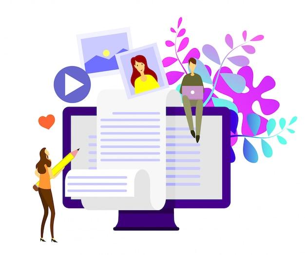 Concepto de vector plano isométrico de blogging creativo. Vector Premium