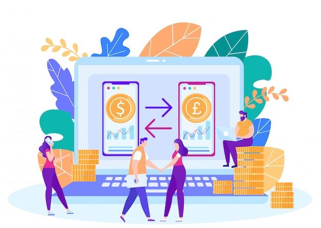Concepto de vector de servicio de cambio de moneda en línea Vector Premium