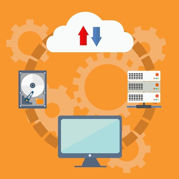 Concepto de vector de tecnología informática en la nube | Vector Premium
