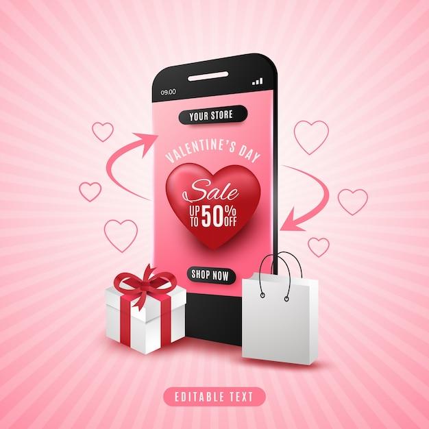 Concepto de venta de compras en línea del día de san valentín en la aplicación móvil Vector Premium