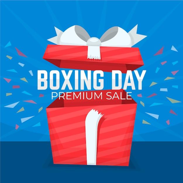 Concepto de venta de día de boxeo en diseño plano vector gratuito