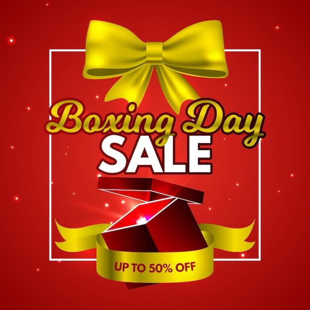 Concepto de venta de día de boxeo realista vector gratuito