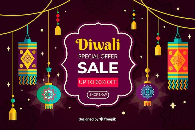 Concepto de venta de diwali en diseño plano vector gratuito