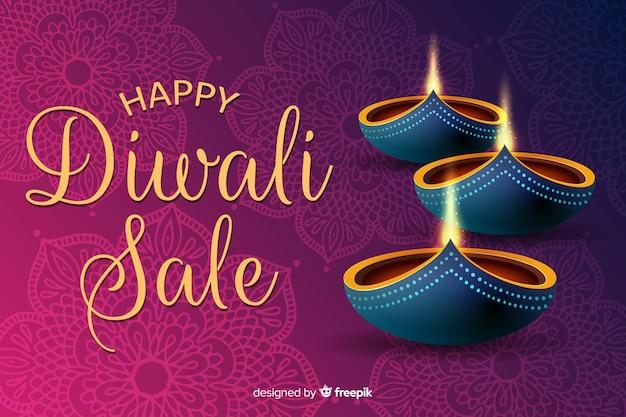 Concepto de venta de diwali con fondo de diseño plano vector gratuito