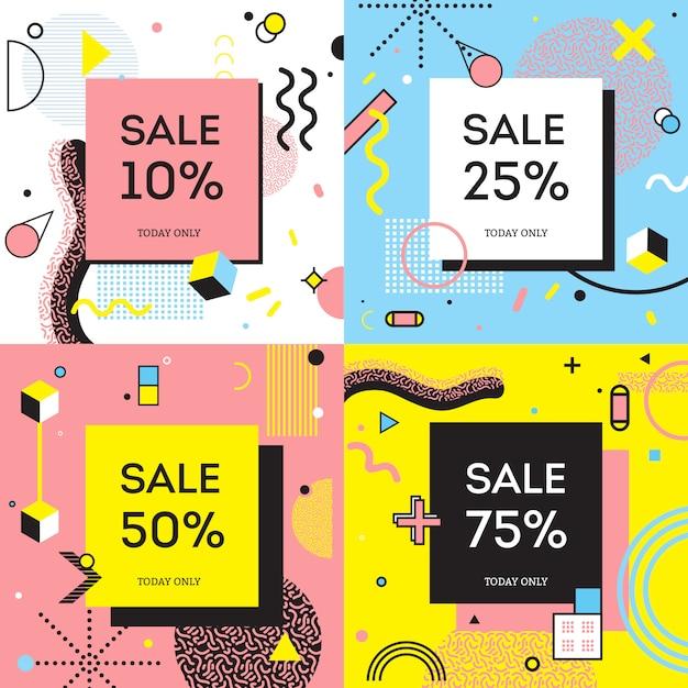 Concepto de venta estilo memphis vector gratuito