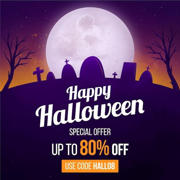 Concepto de venta de halloween en acuarela vector gratuito