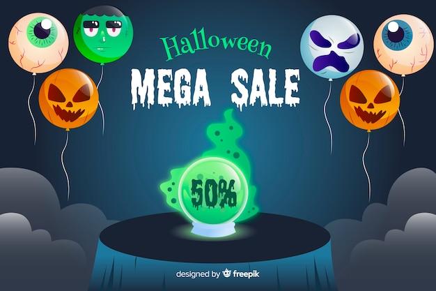 Concepto de venta de halloween con fondo de diseño plano vector gratuito