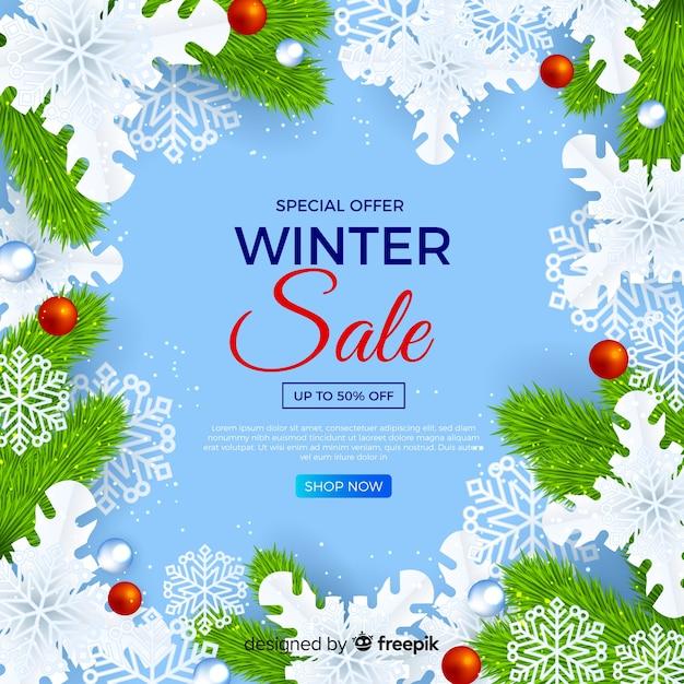 Concepto de venta de invierno realista vector gratuito