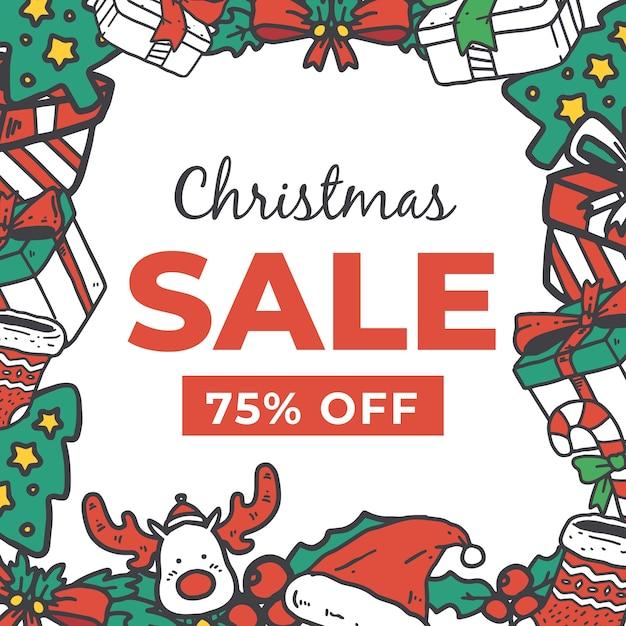 Concepto de venta de navidad dibujado a mano vector gratuito