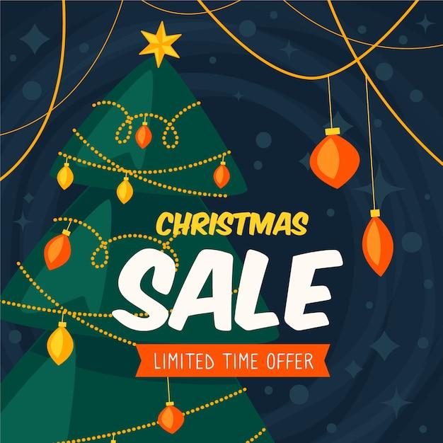 Concepto de venta de navidad en diseño plano vector gratuito