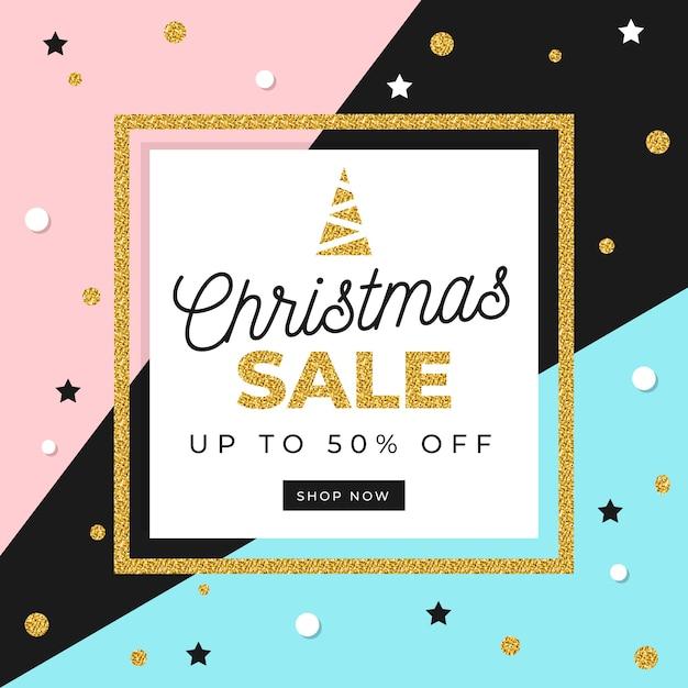 Concepto de venta de navidad dorada vector gratuito