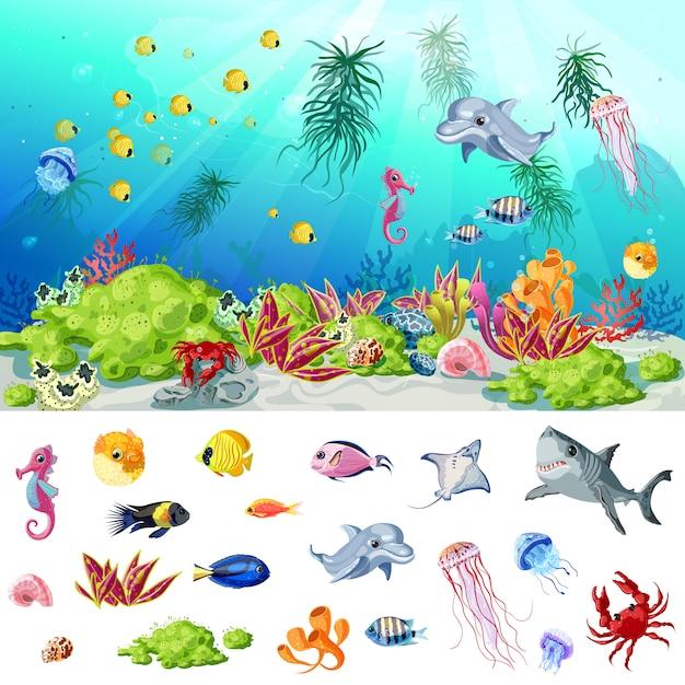 Concepto de vida de mar y océano de dibujos animados vector gratuito
