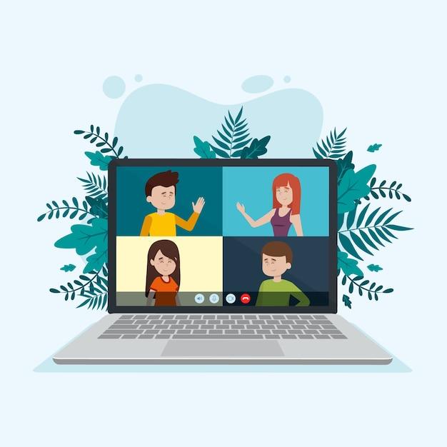 Concepto de video llamada con laptop vector gratuito