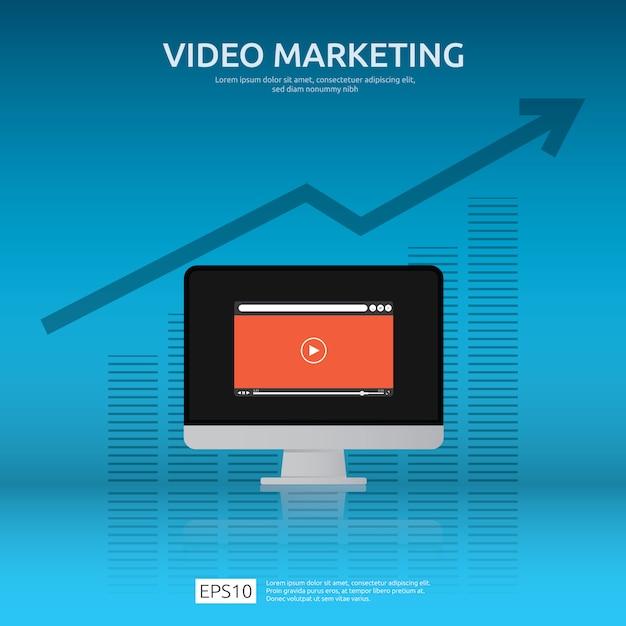 Concepto de video marketing con gráfico y monitor de pantalla de pc Vector Premium