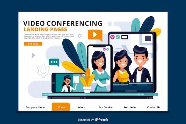 Concepto de videoconferencia para landing page vector gratuito