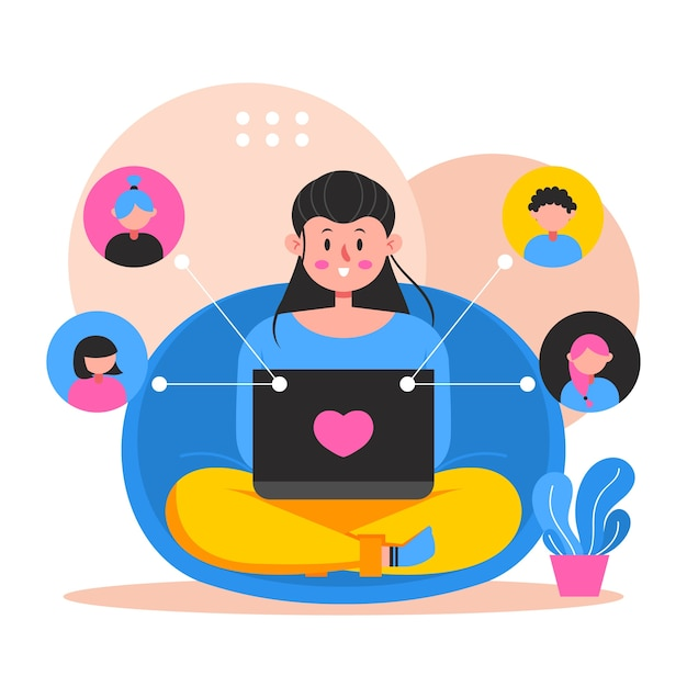 Concepto de videollamada de amigos vector gratuito