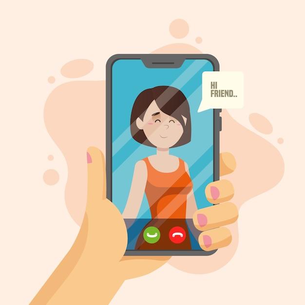 Concepto de videollamada con teléfono vector gratuito