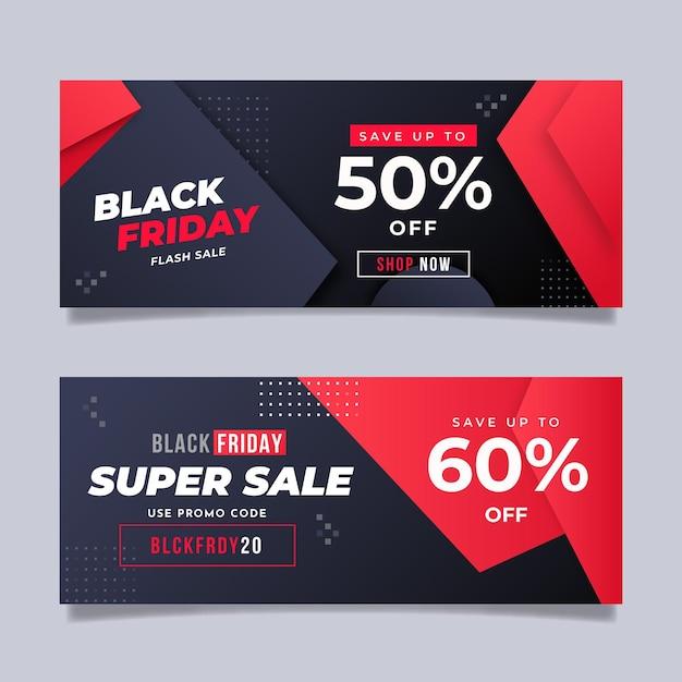 Concepto de viernes negro degradado negro y rojo vector gratuito