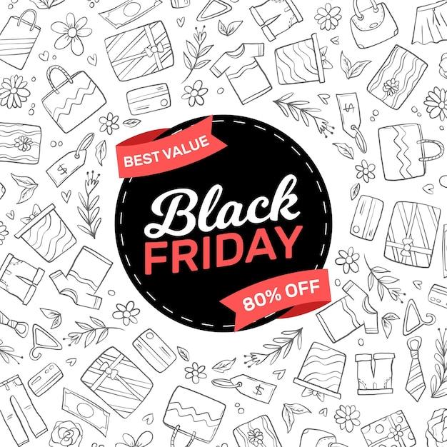 Concepto de viernes negro dibujado a mano Vector Premium