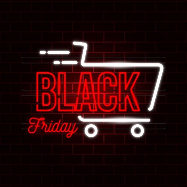 Concepto de viernes negro con diseño de neón vector gratuito