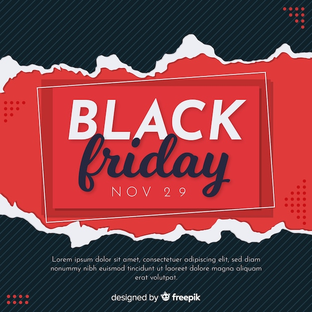 Concepto de viernes negro con fondo de diseño plano vector gratuito