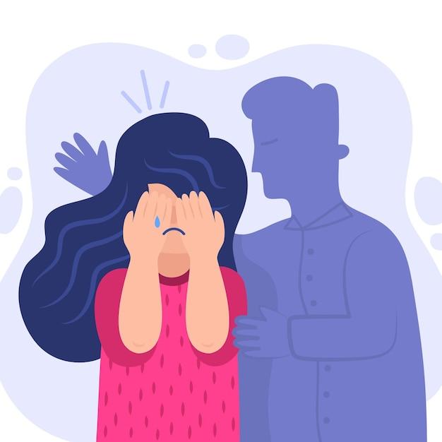 Concepto de violencia de género ilustrado con mujer llorando vector gratuito