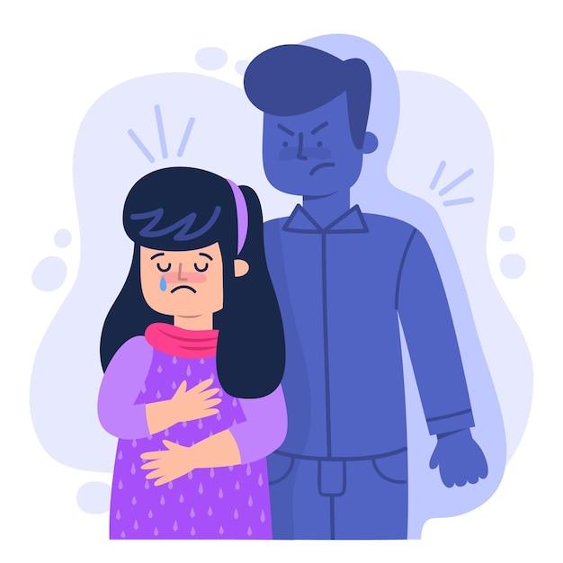 Concepto de violencia de género ilustrado con mujer triste llorando vector gratuito