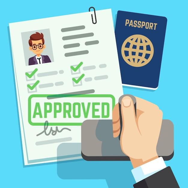 Concepto de visa. solicitud de pasaporte o visa. ilustración de vector de sello de inmigración de viaje Vector Premium