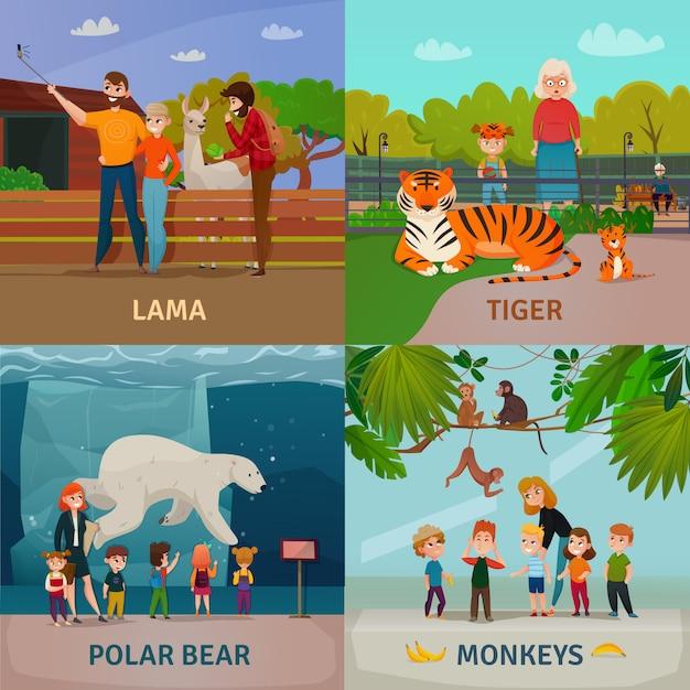 Concepto de visitantes del zoológico vector gratuito