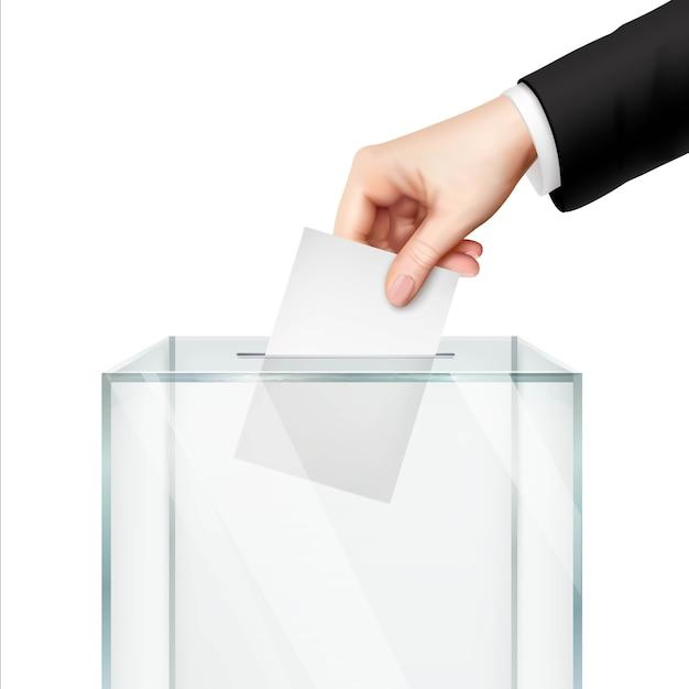 Concepto de votación realista con la mano poniendo papel de voto en la urna. vector gratuito