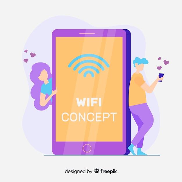 Concepto de wifi en diseño plano vector gratuito