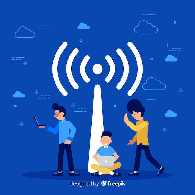 Concepto de wifi en diseño plano Vector Premium