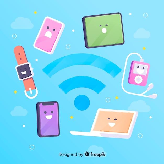 Concepto de zona wifi en diseño plano con señal vector gratuito