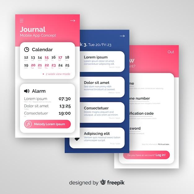 Conceptos de aplicación móvil vector gratuito