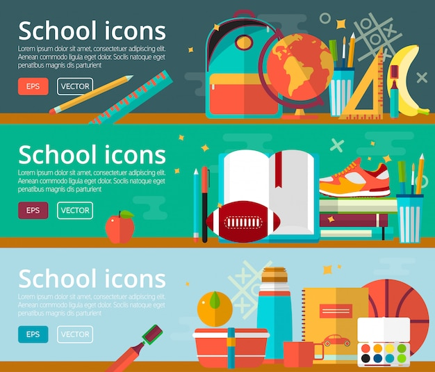 Conceptos de diseño plano de vector de banner de educación Vector Premium