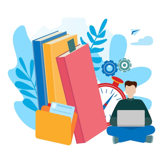 Conceptos para e-learning, educación en línea, libro electrónico, autoeducación. Vector Premium