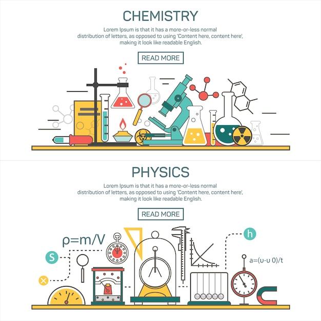 Conceptos de vector de banner de ciencia en estilo de línea elementos de diseño de química y física. espacio de trabajo de laboratorio y equipamiento científico. Vector Premium